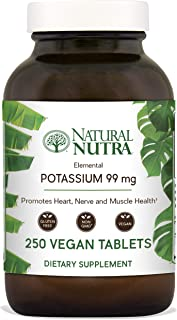 Natural Nutra Elemental Potassium Gluconate Dietary Supplement, Energy and Nervous System Health, 99 mg, 250 Vegetarian Tablets