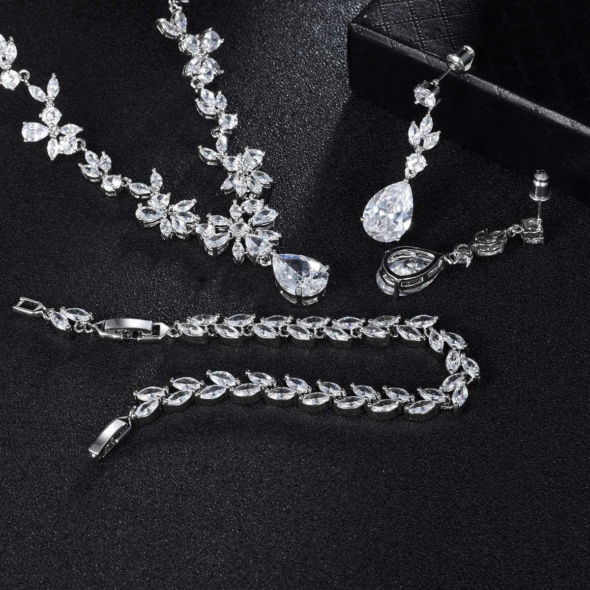 Hadskiss Jewelry Set for Women, Necklace Dangle Earrings Bracelet Set, White Gold Plated Jewelry Set with White AAA Cubic Zirconia, Allergy Free Wedding Party Jewelry for Bridal Bridesmaid