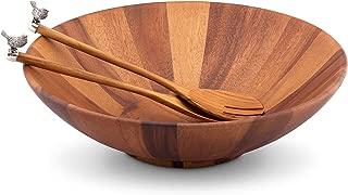 Vagabond House Acacia Wood Salad Bowl With Pewter Song Bird Teak Salad Servers