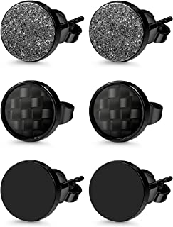 Jstyle 3 Pairs Stainless Steel Stud Earrings for Men Women Black Carbon Fiber Pierced