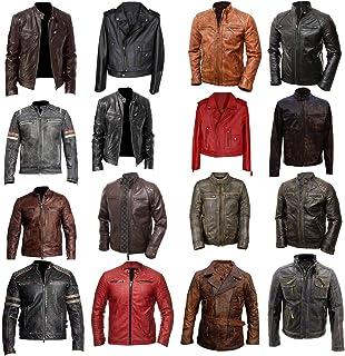 III-Fashions Mens Classic Brando Apollo Vintage Shirt Collar Black Leather Jacket
