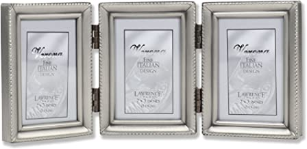 Lawrence Frames Antique Pewter Hinged Triple 2x3 Picture Frame - Beaded Edge Design