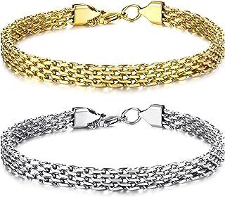 sailimue 2Pcs Stainless Steel Bracelets for Women Men Gold Silver Couples Matching Best Friend Friendship Charm Link Brace...