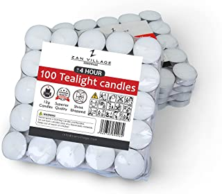 Zan Village Homeware Lot de 100 bougies chauffe-plat jusqu'à 4 heures de combustion 11 g