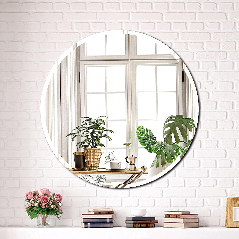 Hlartdecor Round Bathroom Vanity Mirror. Frameless Modern Silver Beveled Mirror for Wall Decorating(27.6X27.6inches).HFY Beveled Decorative Mirror.