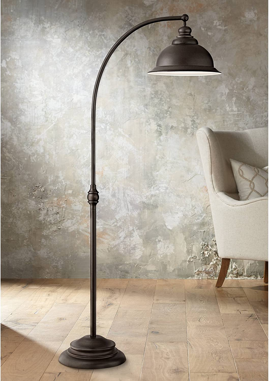 Wyatt II Farmhouse Arc Fashion Floor Factory outlet Lamp Step Bronze Metal S Shade Dark