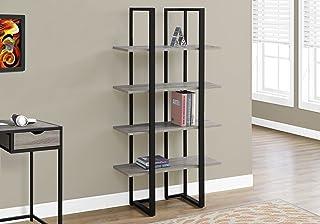 "Monarch Specialties Bookcase - 60"" H/Dark Taupe/Black Metal, Brown"