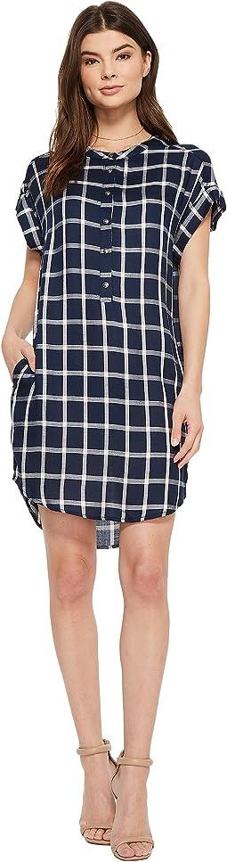 American Rose Naya Short Sleeve Plaid Dress