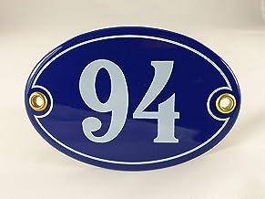 Emaille huisnummer bord nr. 94, ovaal, blauw-wit Nr. 94 Blau-Weiß