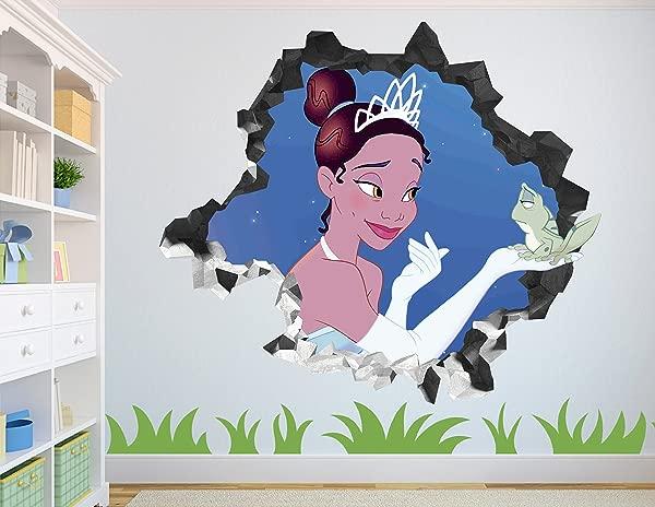 Princess Tiana Wall Decal Smashed 3D Sticker Vinyl Decor Mural Disney Broken Wall 3D Designs AH114 Small Wide 22 X 16 Height