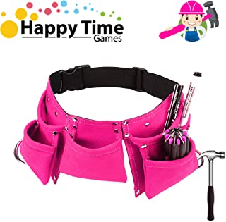 YITOOK Kids Tool Belt Adjustable Children's Carpentry Tool Candy Pouch Heavy Duty Child's Construction Tool Apron for Costumes Dress Up Role Play (Pink)