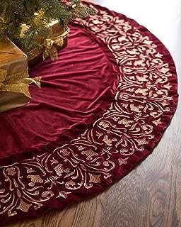 Balsam Hill Luxe Embroidered Velvet Tree Skirt, 60 inches, Wine