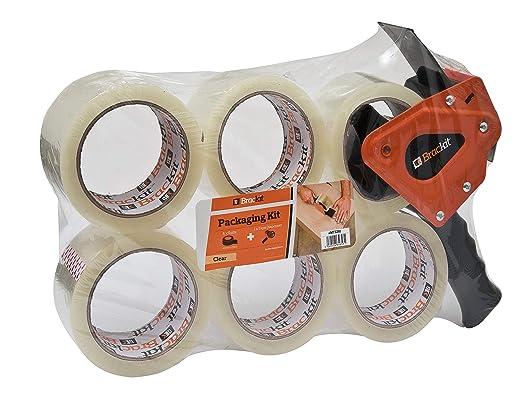 557 opinioni per Brackit- Nastro di imballaggio trasparente con dispenser, 48 mm x 66 mm,