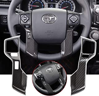 Voodonala for 4runner Steering Wheel Cover Decoration Trim fit Toyota 4runner SUV 2010-2019(Carbon Fiber Grain)