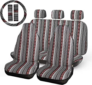 INFANZIA Baja Blanket Car Seat Covers Auto Seat Cover Full Set with 15'' Steering Wheel Cover & Seat Belt Covers Universal Fits Cars, Trucks, SUV, Vans, 10Pcs, Black & Red