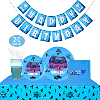 Video Game Party Supplies - 142 PCS Game On Party Decoration for Boys Birthday Party, Banner, Plates, Cups, Napkins, Tablecloth, Spoon, Forks, and Knives, Serves 20