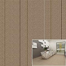 Spliced Striped Carpet, Square Spliced Rugs, 5Pcs Spliced Office Floor Mats,Dark Brown,50x50cmx5