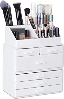 Relaxdays Organiser with 6 Drawers, 22 Compartments for Makeup Storage, Acrylic Cosmetic Tower, White