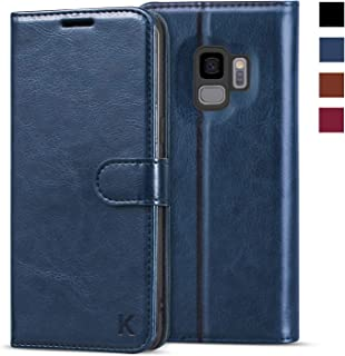 KILINO Galaxy S9 Wallet Case [Shock-Absorbent Bumper] [Card Slots] [Kickstand] [RFID Blocking] Leather Flip Case Compatible with Samsung Galaxy S9 - Blue