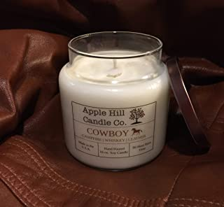 Handmade Natural Soy Candle - Cowboy (Campfire, Whiskey, and Leather) 16 oz. | Candle for Men | ~80 Hour Burn Time | Great for Man Cave, Den, or Study