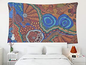 Crannel Colorful Ethnic Aboriginal Australian Colorful Pattern Whole Background Tapestry 80x60 Inches Wall Art Tapestries Hanging for Dorm Room Living Home Decorative