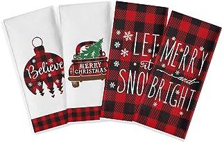 Artoid Mode Red and Black Buffalo Plaid Christmas Ornament Car Tree Kitchen Dish Towels, 18 x 28 Inch Christmas Holiday Ul...