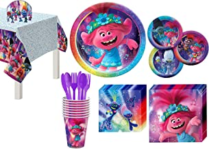 Party City Trolls World Tour Tableware for 8 Guests, Poppy and Branch Plates, Napkins, Cups, Utensils, and Decorations