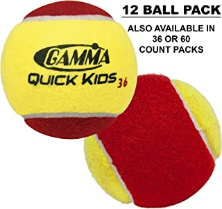 Gamma Beginner Child or Adult Training (Transition) Practice Tennis Balls: Orange or Green Dot, Quick Kids 36, 60, or 78 (25%-50% Slower Ball Speed) - 12, 36, 48, 60 Pack Sizes