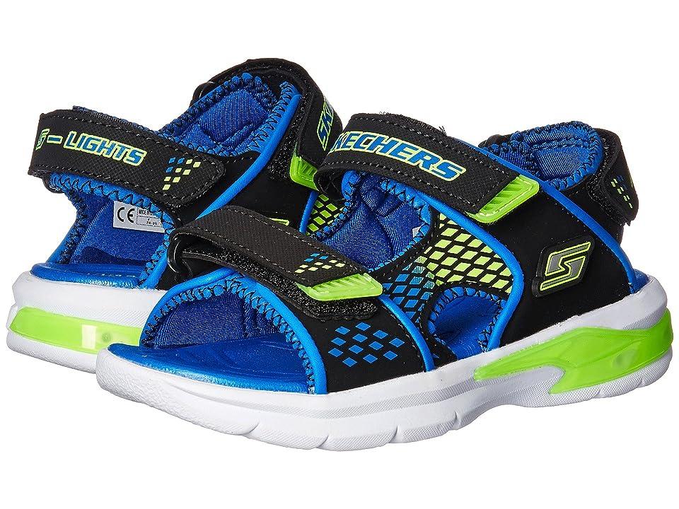 SKECHERS KIDS E-II Sandal Lights 90558L (Little Kid) (Blue/Black/Lime) Boys Shoes