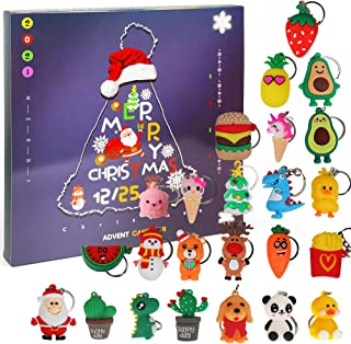 Ogrmar Christmas 2021 Advent Calendar for Kids Holiday Countdown Calendar with 24 Pcs Micro Lovely Silicone Doll Key Ring ...