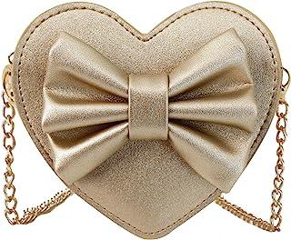 Buddy Girls Bowknot Mini Coin Purse Heart Shape Cross Body Handbag Shoulder Bag Wallet