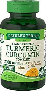 Nature's Truth Turmeric Curcumin 2000 mg | 90 Capsules | with 95% Standardized Curcuminoids and Bioperine | Non-GMO, Glute...