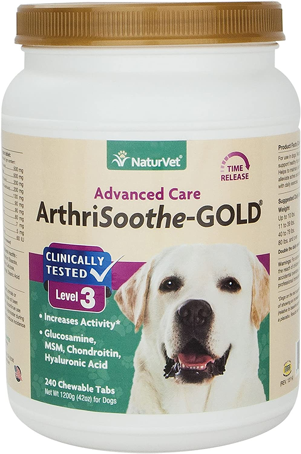 NaturVet ARTHRISOOTHEgold Healthy Hip & Joint Flexibility For Dogs 240 Tablets