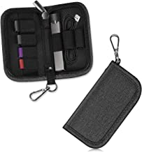Carrying Case with Metal Clasp Compatible with JUUL and Other Vapes - SITHON Wallet-Sized Holder Storage Organizer Holds Vape, Pods, Charger and Keys (Device not Included), Black