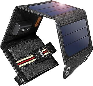 suaoki ソーラーチャージャー 7W ソーラーパネル 4枚搭載 折りたたみ式 USB自動検知機能搭載 軽量 コンパクト ポータブル アウトドア 防災 非常用時 スマホなどへ充電