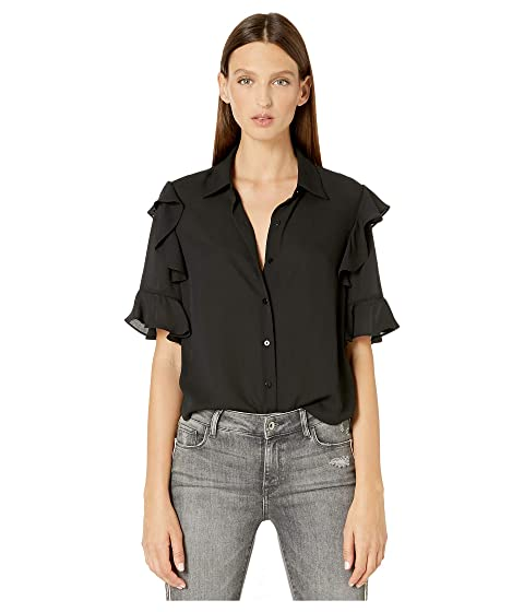 The Kooples Button Down Shirt with Ruffles on Sleeves