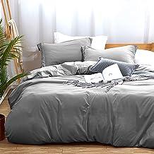 MUKKA غطاء لحاف الملكة ، 100 ٪ ألياف دقيقة مغسولة 100 ٪ مجموعة أغطية السرير ، لون سادة - لينة وتنفس مع إغلاق سحاب وروابط ز...
