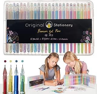 Original Stationery - Juego de bolígrafos de Gel para Adultos–Punta Fina sin derrames–Metálico, Purpurina, Fluorescente, Tiza líquida–48Colores