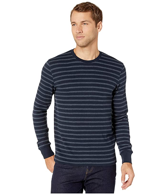 Lucky Brand  Stripe Thermal Crew Top (Navy Blue) Mens Clothing