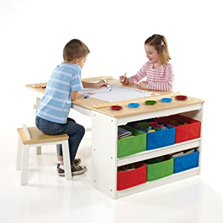 Guidecraft Arts and Crafts Center: Kids Activity Table and Drawing Desk with Stools, Storage Bins, Paper Roller and Paint ...