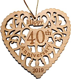 Twisted Anchor Trading Co 40th Anniversary Ornament 2019 - Heart Shaped Happy Anniversary Ornament - Beautiful Laser Cut Wood Detail - Comes in a Pretty Organza Gift Bag so it's Ready to give