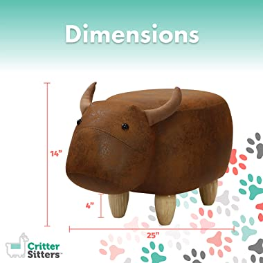 """CRITTER SITTERS Brown Cow 14"""" Seat Height Animal Faux Leather Look-Durable Legs-Furniture for Nursery, Bedroom, Playroom"""