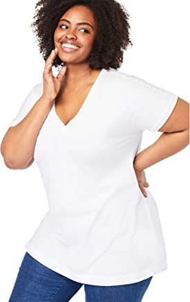 Woman Within Women's Plus Size Perfect V-Neck Tee