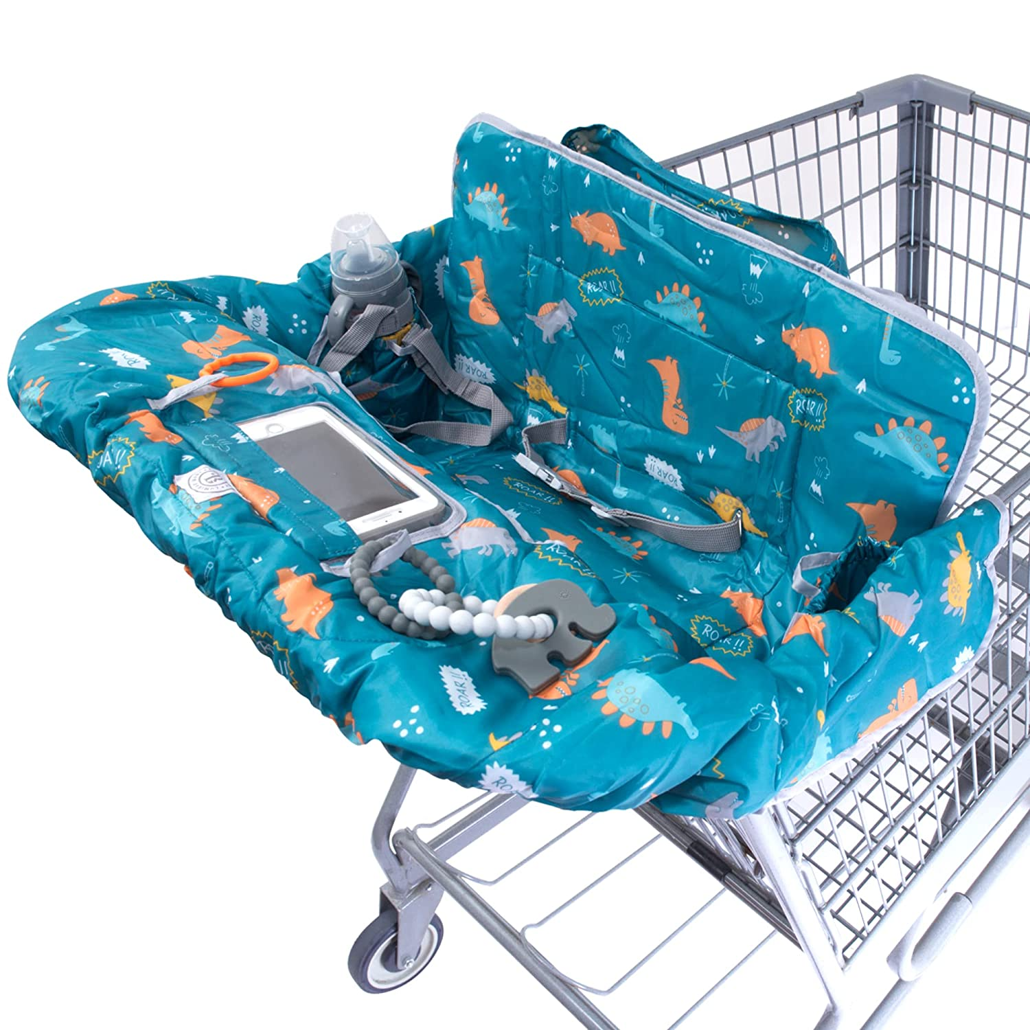 Lumiere Baby Shopping Cart Cover for Baby and Toddler - 2-in-1 High Chair Cover | 360 Full Protection, Patented Roll-in Style Pouch, Universal Fit, Machine Washable Great Gift Ideas for Mom (Dinosaur)