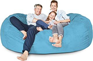 Lumaland Luxury 7-Foot Bean Bag Chair with Microsuede Cover Light Blue, Machine Washable Big Size Sofa and Giant Lounger Furniture for Kids, Teens and Adults