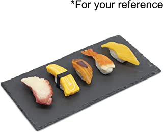4 Pcs Sushi Plates Set, 30 x 15 cm (11.8 x 5.9 in) Slate Rectangular Sushi Serving Tray Plates, Stone Rock Style Cheese Board Platter