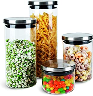 Chefoh Glass Jar Wide Mouth - Airtight Plastic Lid - Free Dishwasher Safe Jar for Beans, Jelly, Storing and Canning Uses