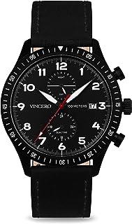 Vincero Luxury Men's Pilot Wrist Watch - Top Grain Italian Leather Watch Band - 44mm Analog Watch - Japanese Quartz Movement