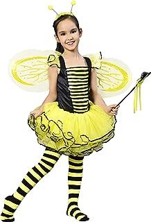 IKALI Bumble Bee Costume for Girls, Kids Honeybee Fancy Dress Up Outfit, Fairy Ballerina Tutu Skirt Set(4-6Y)
