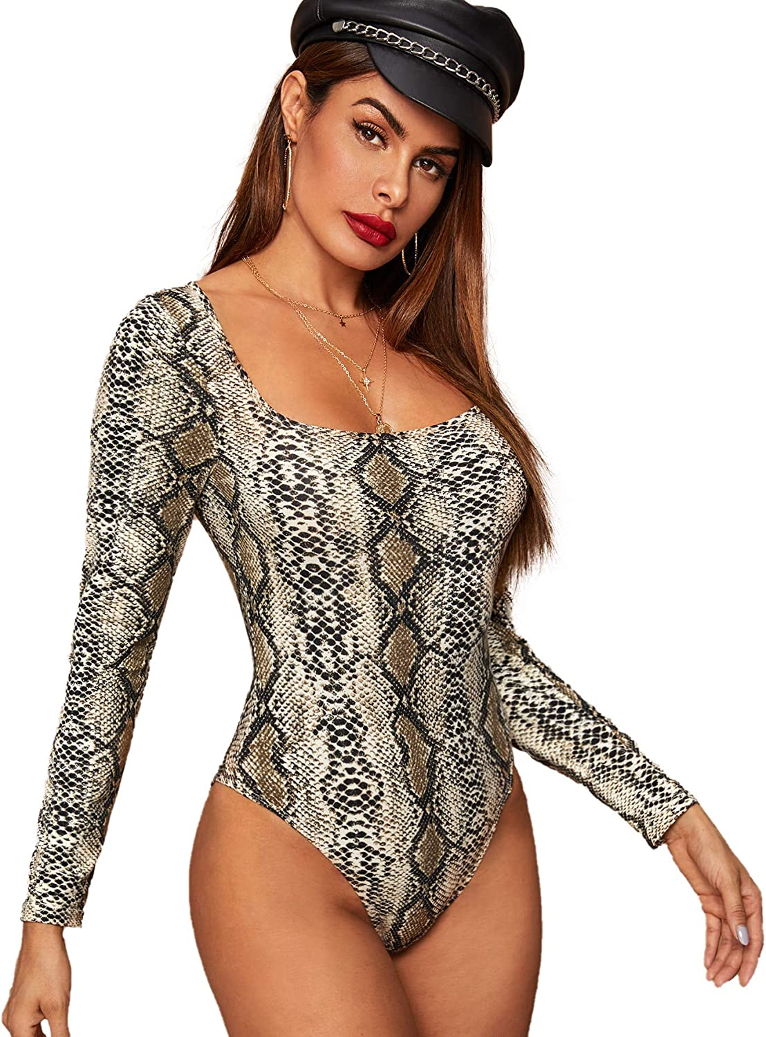 SOLY HUX Womens High Neck High Cut Solid Fitted Long Sleeve Skinny Bodysuit